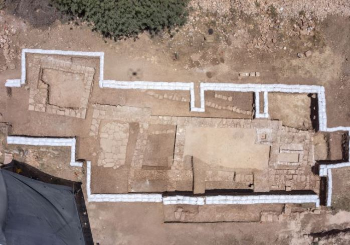 Remains of a Byzantine church discovered near Jerusalem. Photo by Skyview Company, courtesy Israel Antiquities Authority