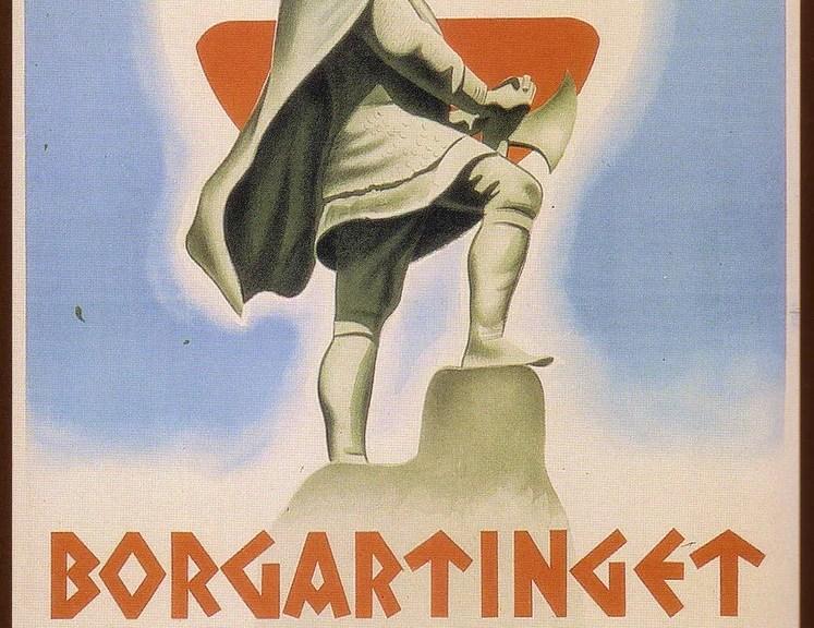 Najsonal Samling Recruitment poster showing St. Olav's shield and using Viking imagery. Photo courtesy of lordautocrat.deviantart.com