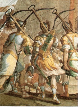 Fresco by Lazzaro Tavarone at the Palazzo Cattaneo Adorno, depicting the Genoese crossbowmen during the storming of Jerusalem.