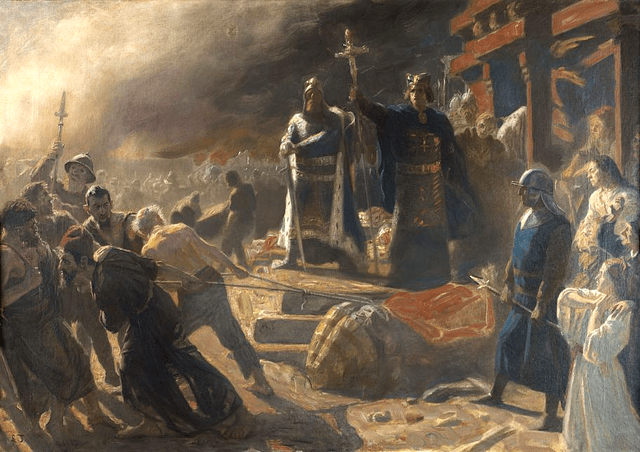 Bishop Absalon topples the god Svantevit at Arkona - created by Laurits Tuxen (1853–1927)