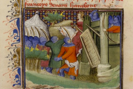 A 15th century depiction of Joanna of Flanders leading the attack from Hennebont