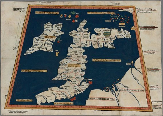 One of the earliest surviving copies of Ptolemy's 2nd century map of the British Isles. Originally published in Ptolemy's Geographia. This is the second issue of the 1482 map, also printed at Ulm, which was the first woodcut map of the British Isles and the first to be printed outside Italy. Photo courtesy National Library of Wales / Wikimedia Commons