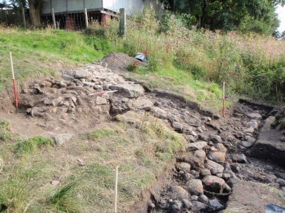 The medieval harbour along the upper river bank © GUARD Archaeology Ltd