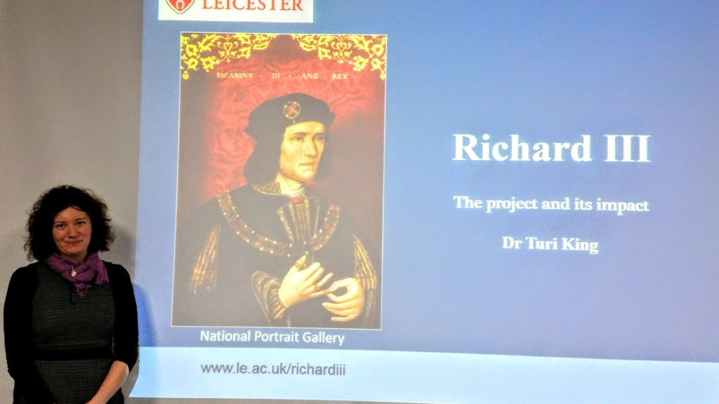 Dr. Turi King giving her talk on the discovery of Richard III at the 'Making the Medieval Relevant' conference