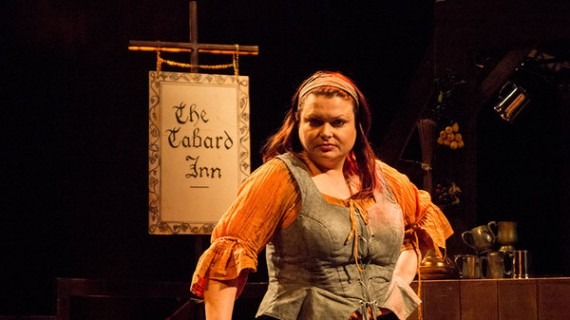 """Rosalind Blessed as the storytelling innkeeper, Rosie Bailey at the Southwark Playhouse in, """"The Ballad of Robin Hood""""."""