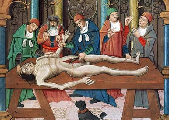 Dissection of a cadaver, 15th century painting