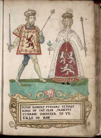 King Robert II of Scotland and his wife, Euphemia of Ross, depicted in the Forman Armorial from 1562