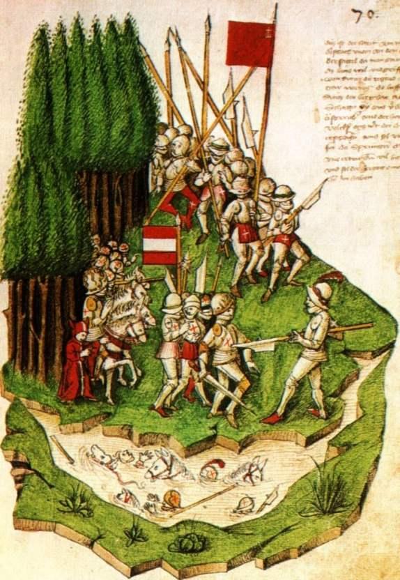 Illustration from the Tschachtlanchronik depicting the Battle of Morgarten