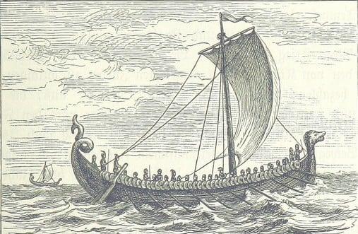 Viking ship depicted in Nordische Fahrten. Skizzen  und Studien (1889)