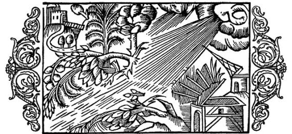 A wind storm is blowing from right to left on the picture. A tree is pulled up from the ground. The church to the right loses its spire and the house nearby loses its roof. From Olaus Magnus 16th century work Historia de gentibus septentrionalibus