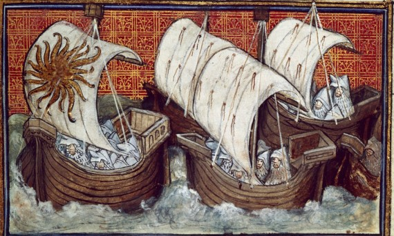 Fleet of Richard II, depicted in British Library Harley 1319 f. 18