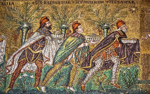 The Three Magi, Byzantine mosaic c.565, Basilica of Sant'Apollinare Nuovo, Ravenna, Italy (restored 18th century). As here Byzantine art usually depicts the Magi in Persian clothing which includes breeches, capes, and Phrygian caps. Wikipedia