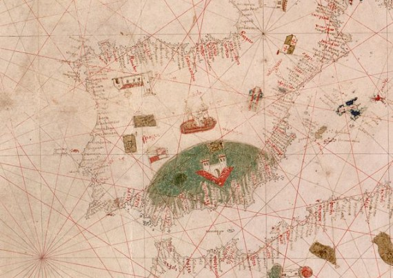 15th century portolan map showing medieval Iberia