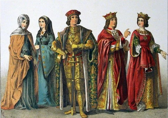 Spanish clothing circa 1400, according to Costumes of All Nations (1882)