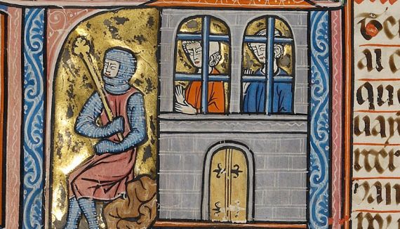 Two men in prison Ms. Ludwig XIV 6, fol. 255v - Digital image courtesy of the Getty's Open Content Program