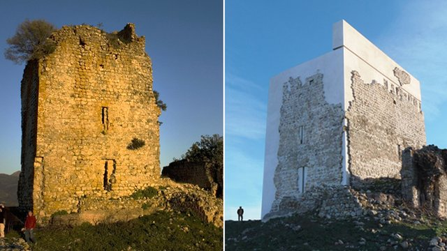 Before and after pictures of Castle Matrera. (Photo by The Guardian)
