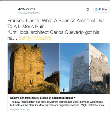 "Twitter comment calling the restored Castle Matrera a ""Franken-Castle"""