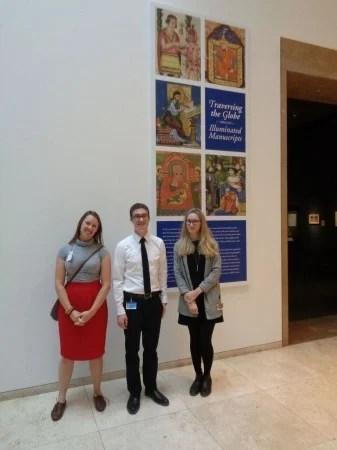 Dani (L) with Getty staff at, 'Traversing the Globe Through Illuminated Manuscript' (Photo courtesy of Dani Trynoski)