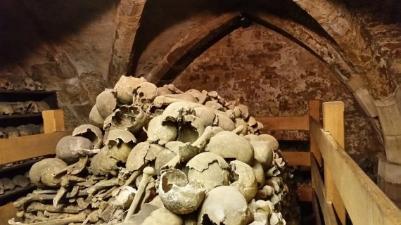 Rothwell Charnel Chapel - inside the ossuary.
