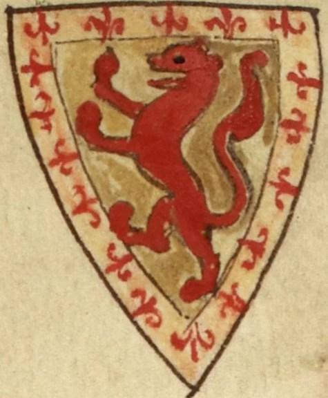 Coat of arms of Alexander II, King of Scots. Arms of Alexander II, as shown in Matthew Paris' Historia Anglorum, c. 1250 (Wikipedia)