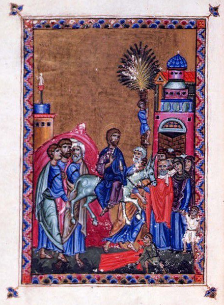 Christ's entry into Jerusalem from the Melisende Psalter  (Wikipedia)