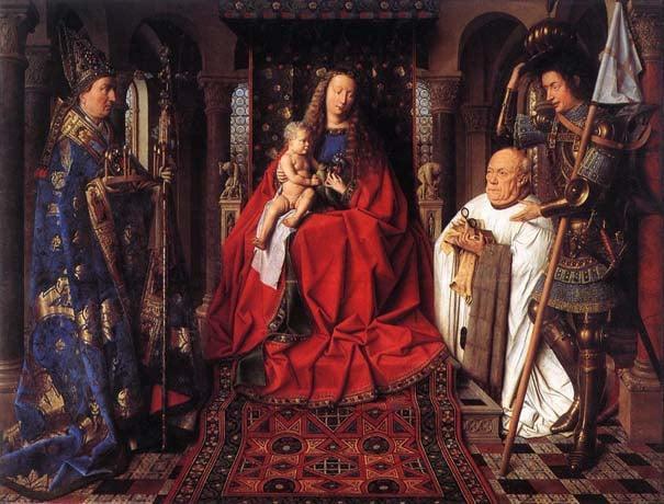 Medieval patronage: Jan Van Eyck La Madone au Chanoine Van der Paele ,1434. (Wikipedia)