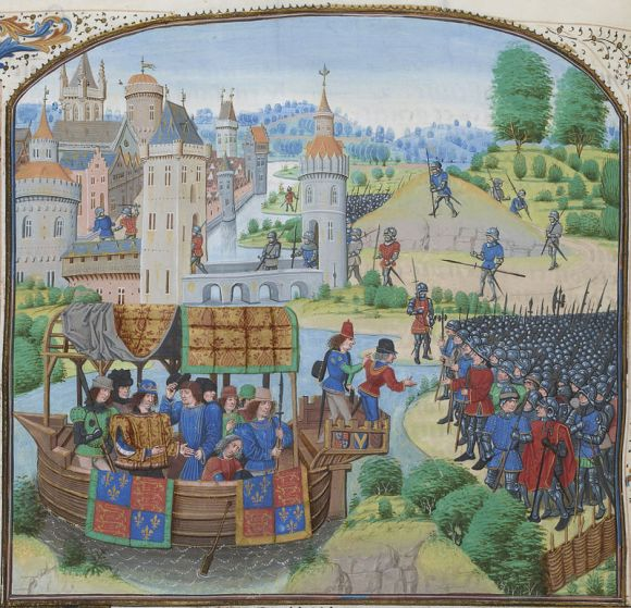 Richard II meeting with the rebels of the Peasants' Revolt of 1381. Jean Froissart, Chroniques, 154v, 12148 (Wikipedia)