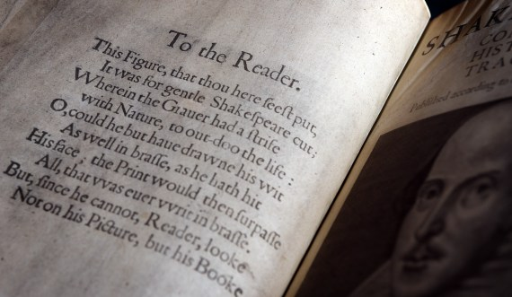 Shakespeare's First Folio 1623. British Library Photo by Clare Kendall