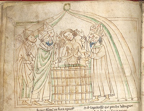 Drawing with coloured wash of the baptism of Balan in a tub by Pope Milon with 4 archbishops present, illustrating section 351 of the Chanson d'Aspremont.  - from British Library MS  Lansdowne 782   f. 18v