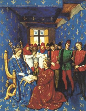 Homage of Edward I to Philip IV from Jean Fouquet's Les Grandes Chroniques de France