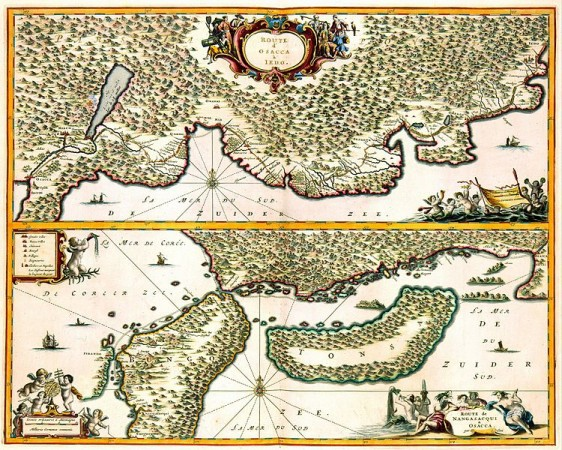 17th century map of the route from Osaka to Jedo - created by Jacob van Meurs