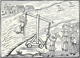 Illustration fof a cucking stool, mentioned in Piers Plowman in 1378. This is an 18th century chapbook reproduced in Chap-books of the eighteenth century by John Ashton (1834) (Wikipedia).