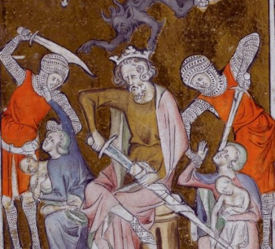 King Herod sitting amidst the Massacre of the Innocents - from British Library MS Royal 2 B VII f. 132
