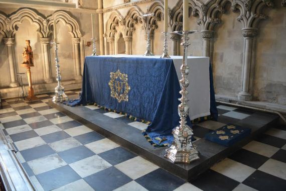 The altar in a chapel at St. Albans abbey where Edmund Beaufort is buried.