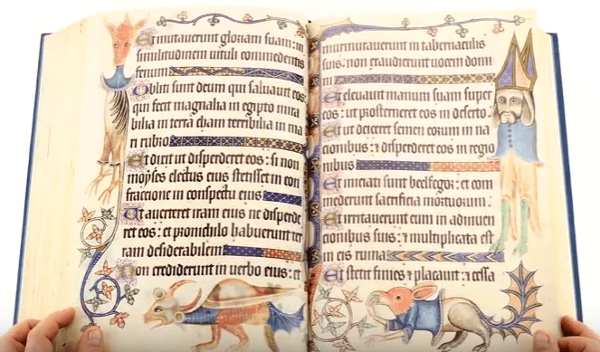Take a look at the Luttrell Psalter