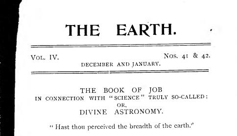 The earth VOL IV book of JOB