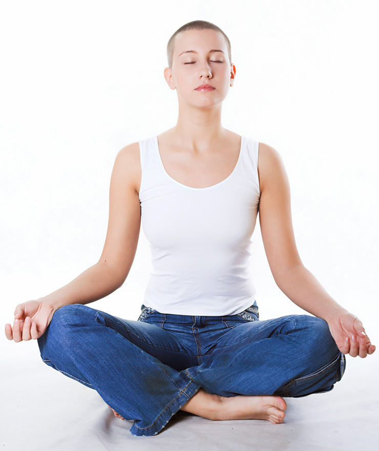 Yoga, meditation, young beautiful woman with close eyes