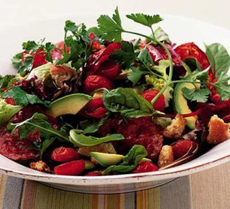 http://www.bbcgoodfood.com/recipes/1891/warm-avocado-salad-with-spicy-chorizo