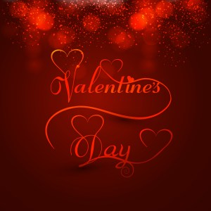 Beautiful valentine's day heart stylish text design for colorful card vector