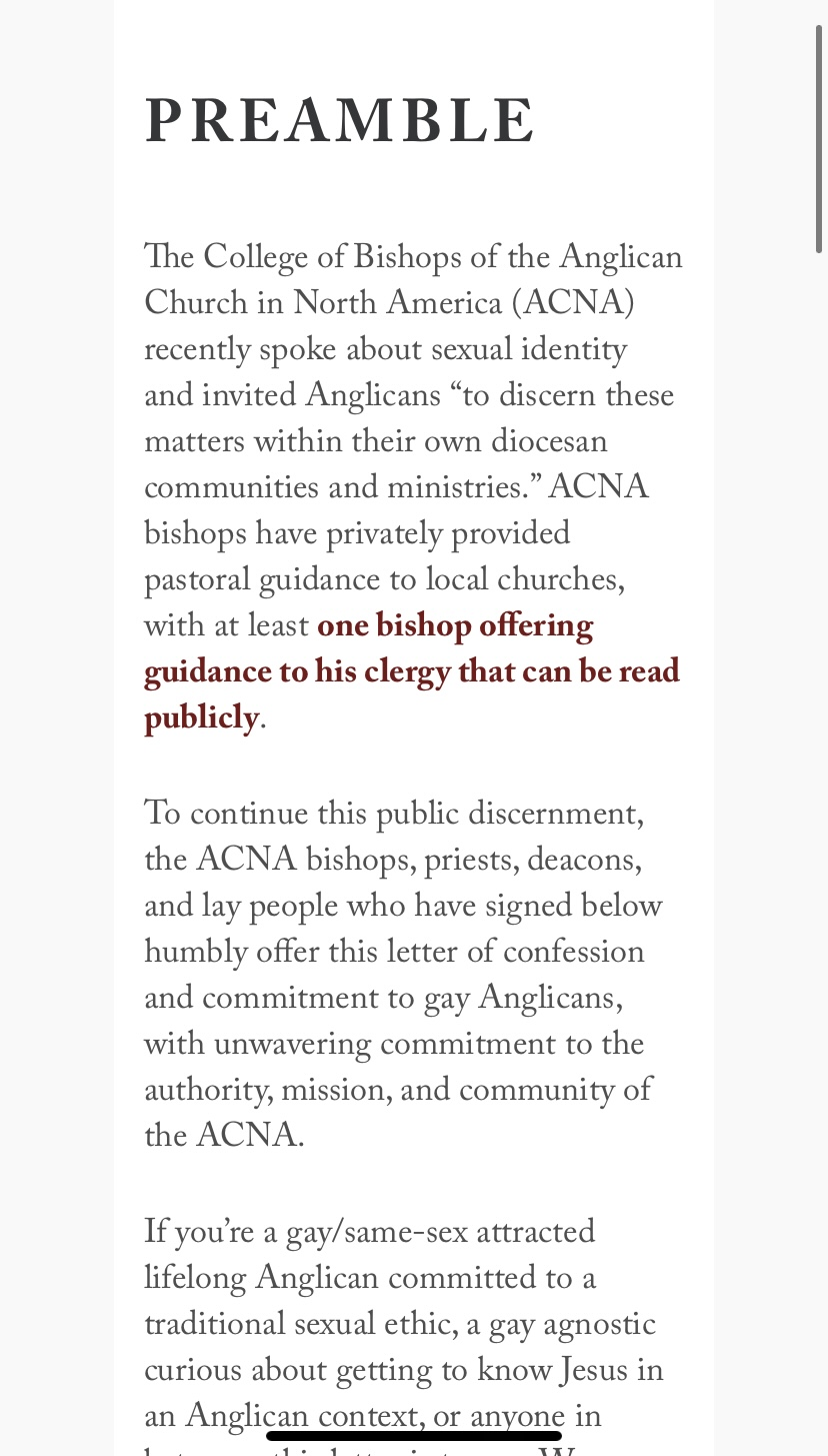 """""""Dear Gay Anglicans"""" page 1"""
