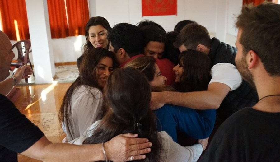 Group Healing Hugs After Meditation Session With Shiva Girish