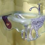 כיור מזכוכית בשילוב פסיפס