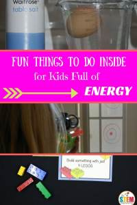Fun Things to Do Inside for Kids Full of Energy. Looking for fun things to do with kids at home? This list of ideas will make you happy to be stuck inside!