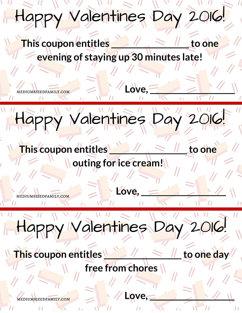 Free printable Valentines Day coupons for kids