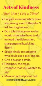 Acts of kindness checklist: A list of random acts of kindness you can perform for free.
