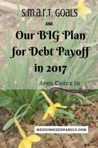 Our BIG Plan for Debt Payoff in 2017 is working!! One giant credit card down, two more to go. Whoop!