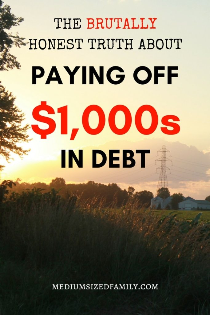 Paying off debt, especially credit cards, is tough when you're living on one income.  This couple has been paying off thousands in debt while raising 5 kids...no easy task!