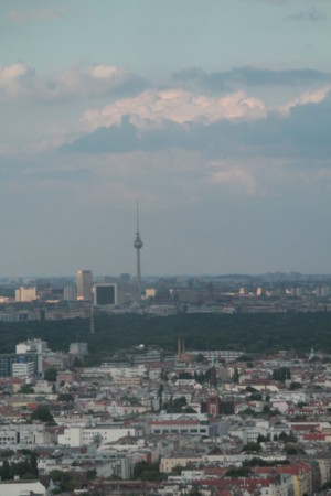 Eagle-eyed view of Berlin and the urban deity, the Television tower. View from the Radio tower ǀ 2014 © Nasima Selim