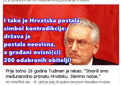 26 godina neovisnosti Republike Hrvatske i ovisnosti građana Republike Hrvatske