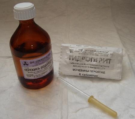 Часто при процедуре используют раствор перекиси водорода